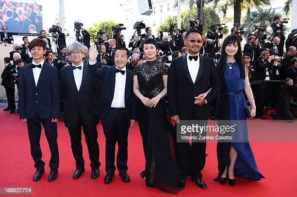 Actor Lanshan Luo producer Shozo Ichiyama director Jia Zhangke and actors Tao Zhao Jiang Wu and Meng Li attend the 'Zulu' Premiere and Closing...