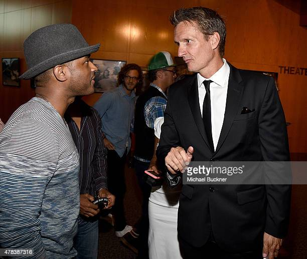 Actor Larenz Tate and director Shaun Monson attends the world premiere of UNITY at the DGA Theater on June 24 2015 in Los Angeles California