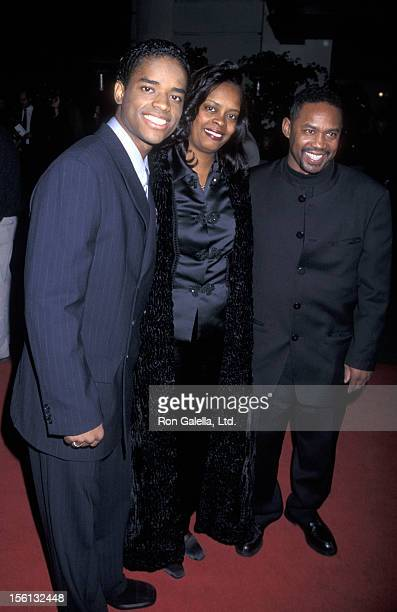Actor Larenz Tate mother Peggy Tate and father Larry Tate attending the world premiere of 'The Postman' on December 12 1997 at the Steven J Ross...