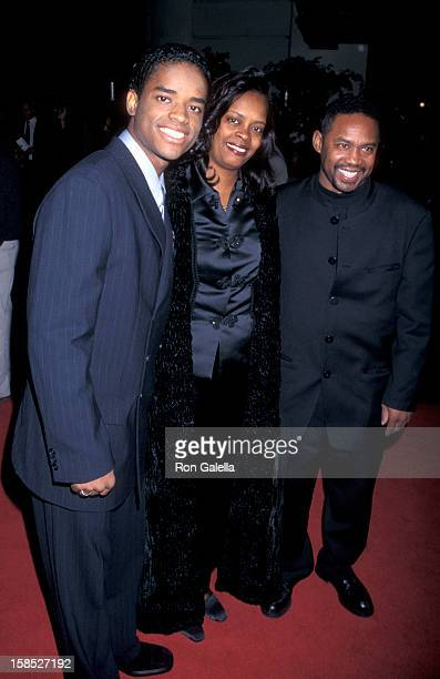 Actor Larenz Tate mother Peggy Tate and father Larry Tate attending the world premiere of The Postman on December 12 1997 at the Steven J Ross...