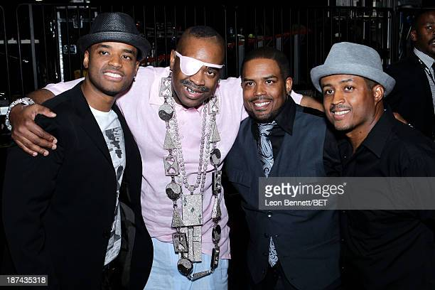 Actor Larenz Tate rapper Slick Rick Lahmard J Tate and Larron Tate attend the Soul Train Awards 2013 at the Orleans Arena on November 8 2013 in Las...