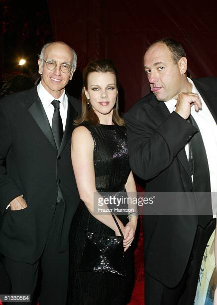 Actor Larry David, actress Debi Mazar and actor James Gandolfini pose at HBO?S post Emmy party following the 56th annual Primetime Emmy Awards held...
