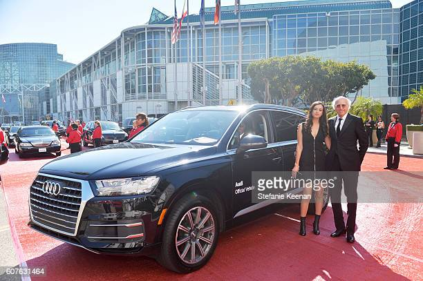 Actor Larry David and Cazzie David arrive in an Audi Q7 at The 68th Emmy Awards on September 18 2016 in Los Angeles California