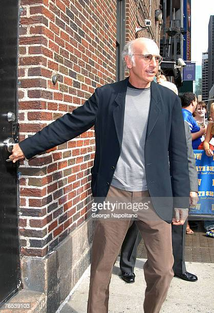 Actor Larry David arrives at The Late Show with David Letterman September 5 2007 at The Ed Sullivan Theater in New York City