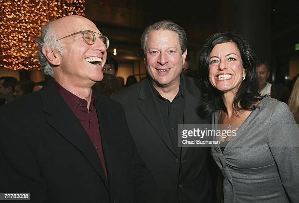 Actor Larry David former Vice President Al Gore and producer Laurie David attend the 2006 International Documentary Association Achievement Awards...