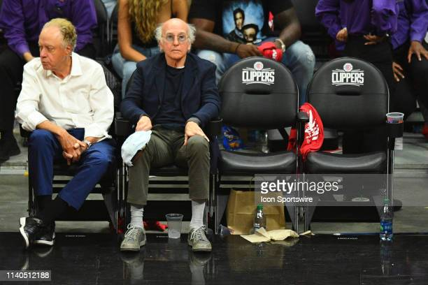 Actor Larry David looks on during game six of the first round of the 2019 NBA Playoffs between the Golden State Warriors and the Los Angeles Clippers...