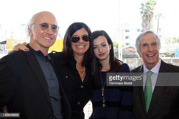 Actor Larry David with wife and daughter and actor Henry Winkler attend the official Emerson College in Los Angeles groundbreaking ceremony on March...