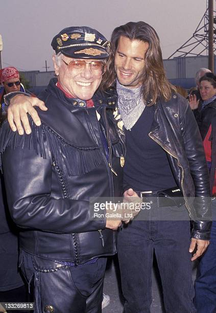 Actor Larry Hagman and Lorenzo Lamas attend 10th Annual Love Ride Benefit on November 7 1993 at HarleyDavidson of Glendale in Glendale California