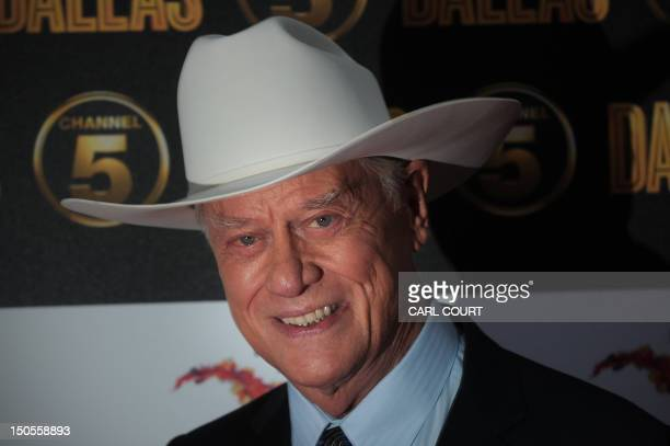 US actor Larry Hagman arrives on the red carpet to attend the launch of the new 10part series of US television show Dallas in London on August 21...