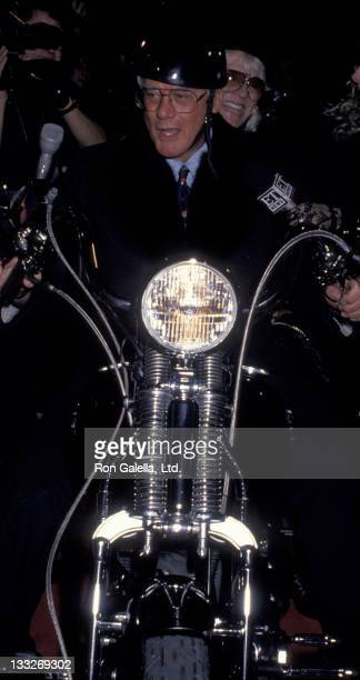 Actor Larry Hagman attends the opening of Harley Davidson Cafe on October 19 1993 in New York City