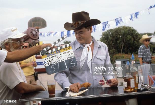 Actor Larry Hagman on set of Dallas in July 18, 1979 in Los Angeles, California.