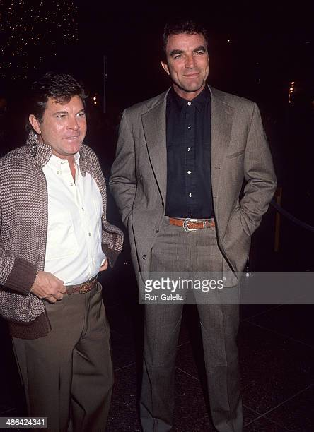 Actor Larry Manetti and actor Tom Selleck attend the Quigley Down Under West Hollywood Premiere on October 17 1990 at the DGA Theatre in West...