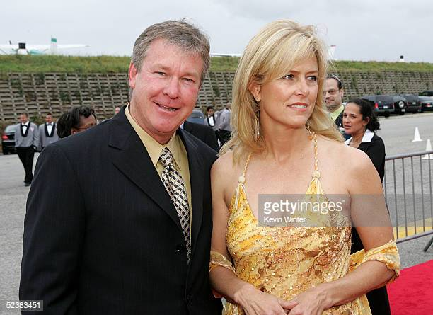 Actor Larry Wilcox and wife Marlene Harmon arrives at the 2005 TV Land Awards at Barker Hangar on March 13 2005 in Santa Monica California