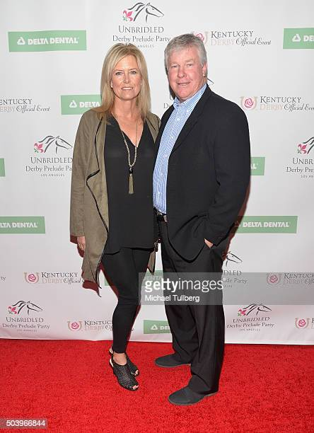 Actor Larry Wilcox and wife Marlene Harmon attend the 7th Annual Unbridled Eve Derby Prelude Party at The London West Hollywood on January 7 2016 in...