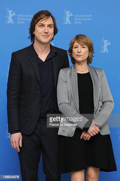 Actor Lars Eidinger and actress Corinna Harfouch attend the Was Bleibt Photocall during day six of the 62nd Berlin International Film Festival at the...