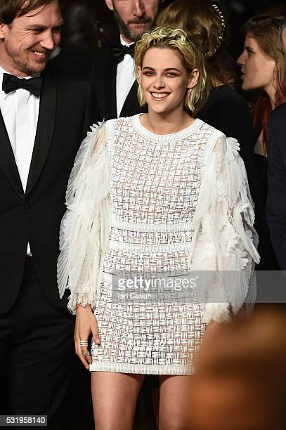 Actor Lars Eidinger and actress Kristen Stewart attend the 'Personal Shopper' premiere during the 69th annual Cannes Film Festival at the Palais des...