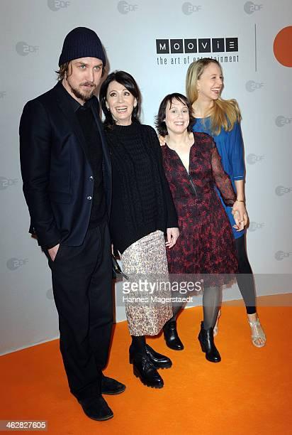 Actor Lars Eidinger Iris Berben Eva Loebau and Petra SchmidtSchaller attend the premiere of the film 'Der Clan Die Geschichte der Familie Wagner' at...