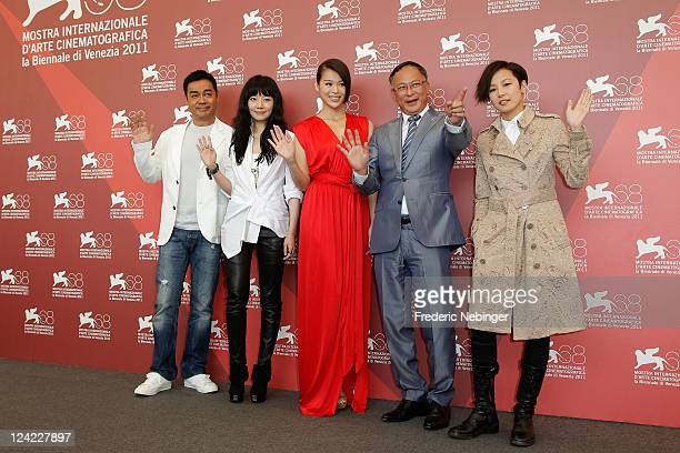 """Actor Lau Ching Wan,Ngok Mei, Myolie Wu, director Johnnie To and actress Denise Ho pose at the """"Duo Mingjin"""" photocall during the 68th Venice Film..."""