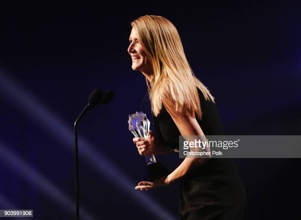 Actor Laura Dern accepts Best Supporting Actress in a Movie/Limited Series for 'Big Little Lies' onstage duringThe 23rd Annual Critics' Choice Awards...