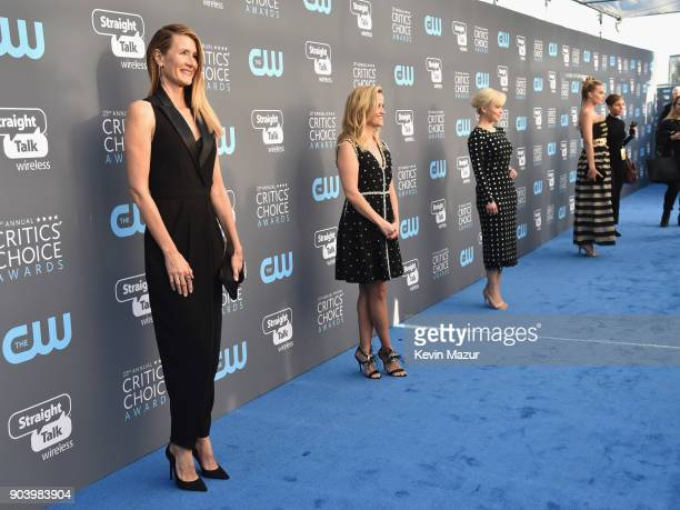 Actor Laura Dern actorproducer Reese Witherspoon actor Emilia Clarke and actor Margot Robbie attend The 23rd Annual Critics' Choice Awards at Barker...