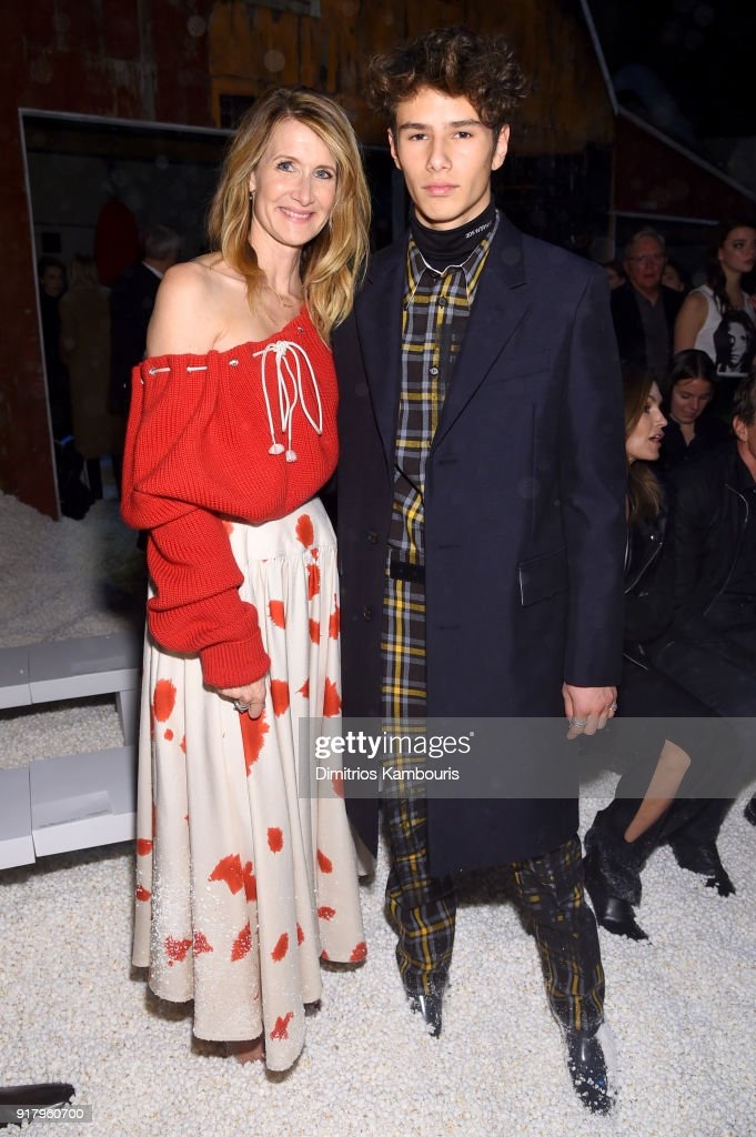 Actor Laura Dern and Ellery Walker Harper attend the Calvin Klein Collection front row during New York Fashion Week at New York Stock Exchange on February 13, 2018 in New York City.