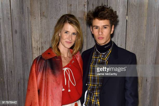 Actor Laura Dern and Ellery Walker Harper attend the Calvin Klein Collection during New York Fashion Week at New York Stock Exchange on February 13...