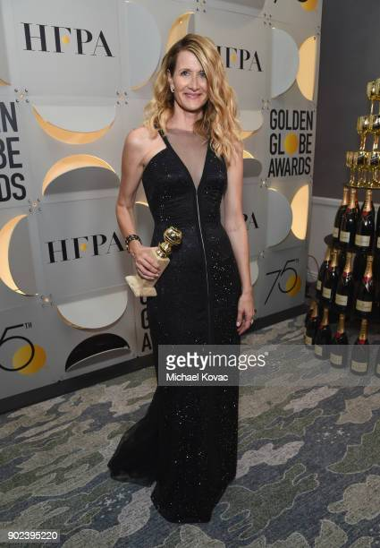 Actor Laura Dern celebrates The 75th Annual Golden Globe Awards with Moet Chandon at The Beverly Hilton Hotel on January 7 2018 in Beverly Hills...
