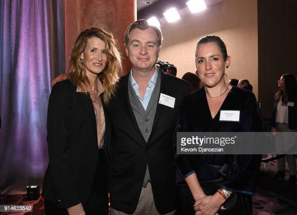 Actor Laura Dern director Christopher Nolan and producer Emma Thomas attend the 90th Annual Academy Awards Nominee Luncheon at The Beverly Hilton...
