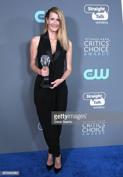 Actor Laura Dern poses with the award for Best Supporting Actress in a Movie Made for TV or Limited Series in 'Big Little Lies' in the press room...