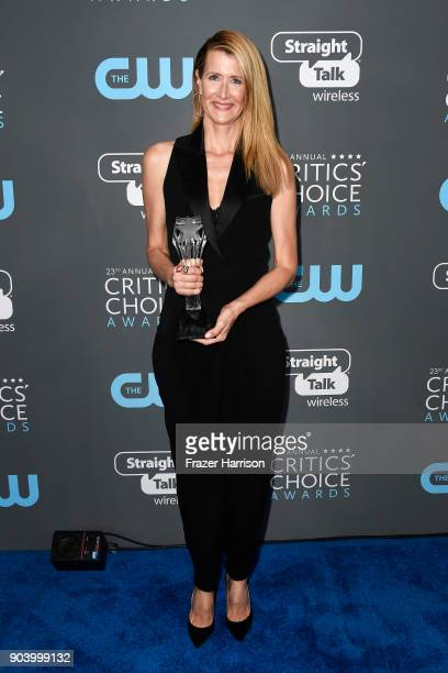 Actor Laura Dern poses with the award for Best Supporting Actress in a Movie Made for TV or Limited Series for 'Big Little Lies' in the press room...