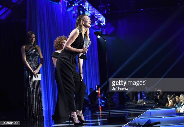 Actor Laura Dern speaks on stage at The 23rd Annual Critics' Choice Awards at Barker Hangar on January 11 2018 in Santa Monica California
