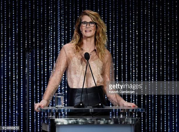 Actor Laura Dern speaks onstage during the 90th Annual Academy Awards Nominee Luncheon at The Beverly Hilton Hotel on February 5 2018 in Beverly...