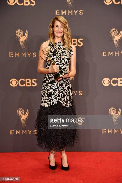 Actor Laura Dern winner of the Outstanding Supporting Actress in a Limited Series or Movie award for 'Big Little Lies' poses in the press room during...