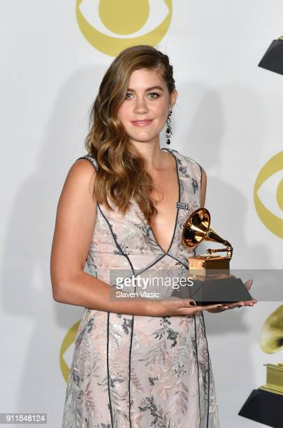 Actor Laura Dreyfuss winner of the Best Musical Theater Album award for 'Dear Evan Hansen' poses in the press room during the 60th Annual GRAMMY...