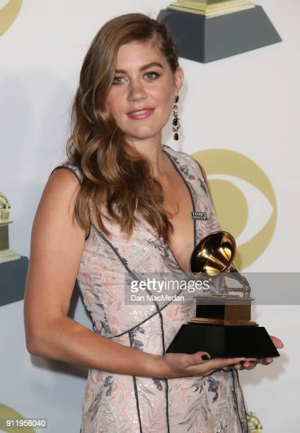 Actor Laura Dreyfuss winner of the Best Musical Theater Album award for 'Dear Evan Hansen' poses in the press room at the 60th Annual GRAMMY Awards...