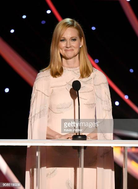 Actor Laura Linney speaks onstage during the 24th Annual Screen Actors Guild Awards at The Shrine Auditorium on January 21, 2018 in Los Angeles,...