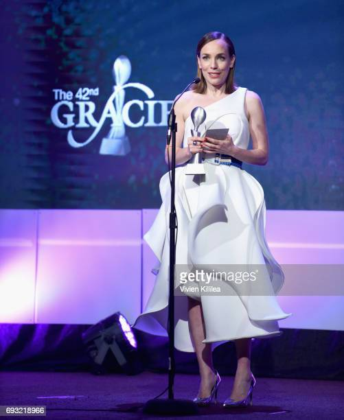 Actor Laura Main accepts an award onstage during the 42nd Annual Gracie Awards hosted by The Alliance for Women in Media at the Beverly Wilshire...