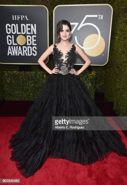 Actor Laura Marano celebrates The 75th Annual Golden Globe Awards with Moet Chandon at The Beverly Hilton Hotel on January 7 2018 in Beverly Hills...