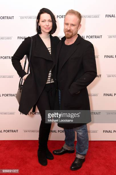 "Actor Laura Prepon and Ben Foster attends the ""Final Portrait"" New York Screening at Guggenheim Museum on March 22, 2018 in New York City."