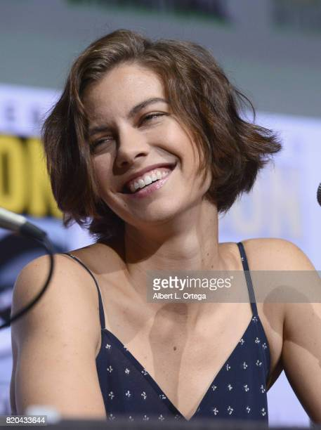 Actor Lauren Cohan speaks onstage at ComicCon International 2017 AMC's 'The Walking Dead' panel at San Diego Convention Center on July 21 2017 in San...