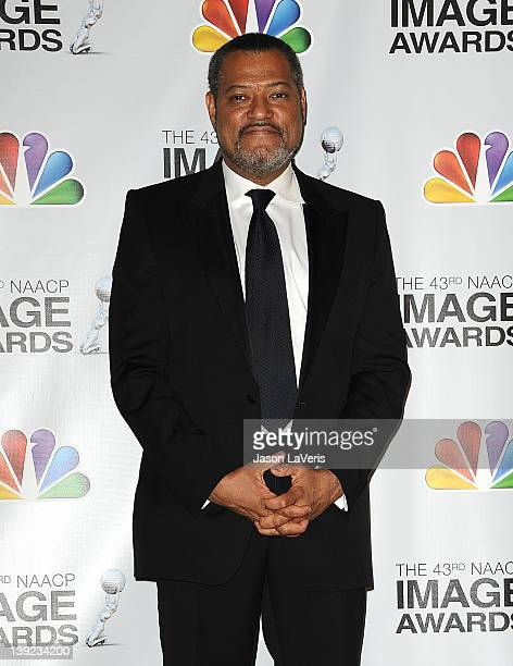 Actor Laurence Fishburne poses in the press room at the 43rd annual NAACP Image Awards at The Shrine Auditorium on February 17 2012 in Los Angeles...