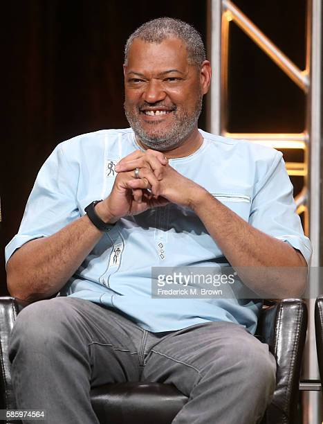 Actor Laurence Fishburne speaks onstage at the 'Blackish' panel discussion during the Disney ABC Television Group portion of the 2016 Television...
