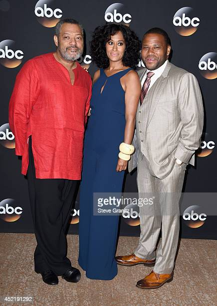 Actor Laurence Fishburne, Tracee Ellis Ross and Anthony Anderson attend the Disney/ABC Television Group 2014 Television Critics Association Summer...