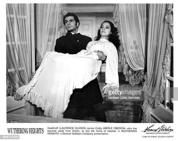 Actor Laurence Olivier and actress Merle Oberon on set of the Samuel Goldwyn Company movie Wuthering Heights circa 1939 Wuthering Heights was...