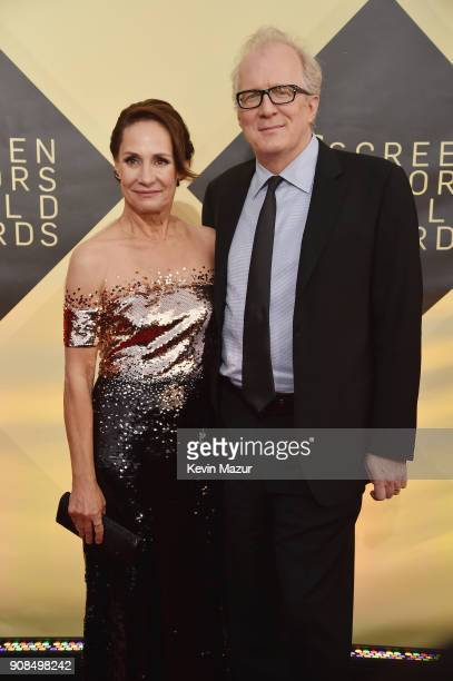 Actor Laurie Metcalf and writer Tracy Letts attend the 24th Annual Screen Actors Guild Awards at The Shrine Auditorium on January 21 2018 in Los...
