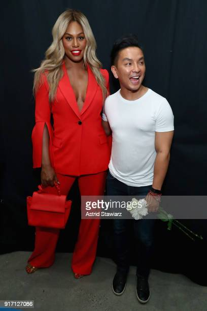 Actor Laverne Cox and designer Prabal Gurung pose backstage for Prabal Gurung during New York Fashion Week The Shows at Gallery I at Spring Studios...