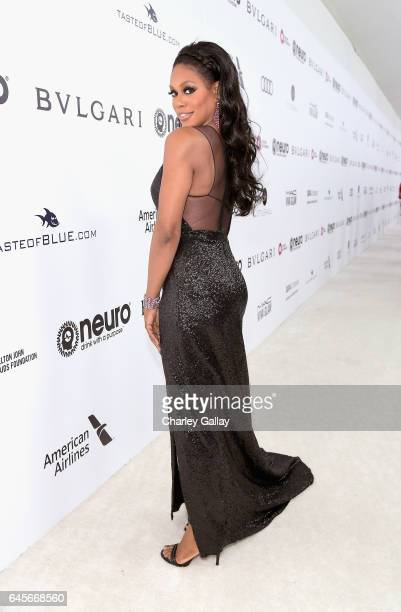 Actor Laverne Cox attends the 25th Annual Elton John AIDS Foundation's Academy Awards Viewing Party with cocktails by Clase Azul Tequila and Chopin...