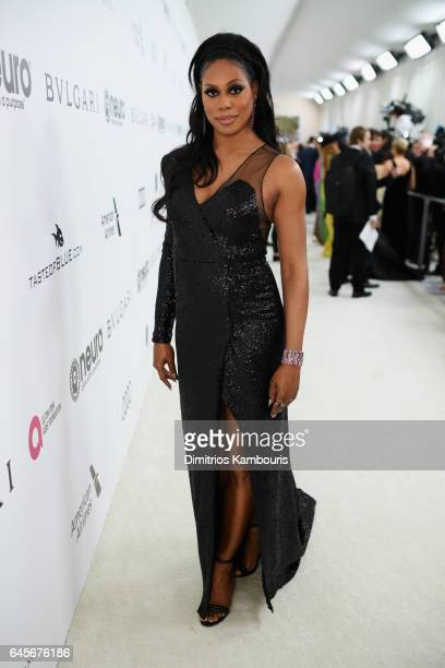 Actor Laverne Cox attends the 25th Annual Elton John AIDS Foundation's Academy Awards Viewing Party at The City of West Hollywood Park on February 26...