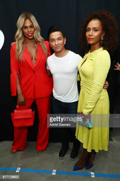 Actor Laverne Cox designer Prabal Gurung and Janet Mock pose backstage for Prabal Gurung during New York Fashion Week The Shows at Gallery I at...