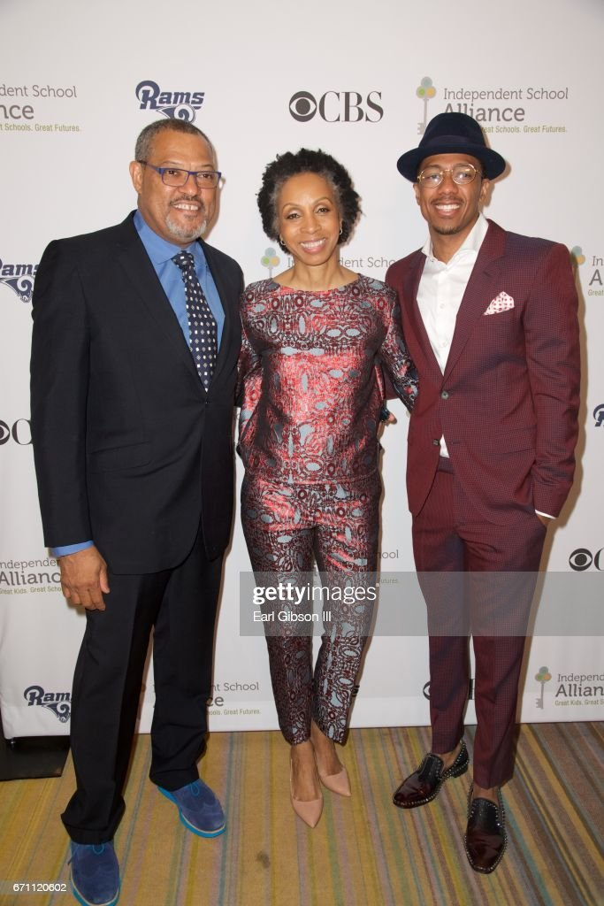 Actor Lawrence Fishburne, attorney Nina L. Shaw and actor Nick Cannon attend the Independent School Alliance Impact Awards at the Beverly Wilshire Four Seasons Hotel on April 20, 2017 in Beverly Hills, California.